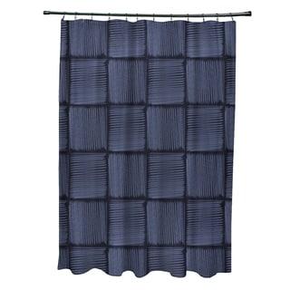 Basketweave Geometric Print Shower Curtain (71 x 74)