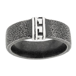 Blackplated Stainless Steel Greek Key Men's Ring