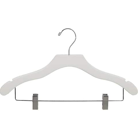 White Notched Wavy Combo Hanger with Adustable Cushion Clips (Case of 25)