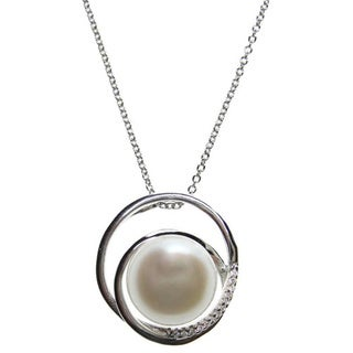 Kabella Sterling Silver Button Freshwater Pearl with Cubic Zirconia Pendant (11-11.5 mm)