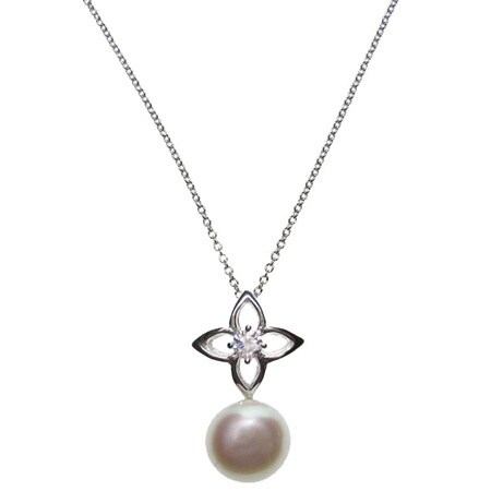 Kabella Sterling Silver Freshwater Pearl and Cubic Zirconia Accent Necklace (9.5-10 mm)