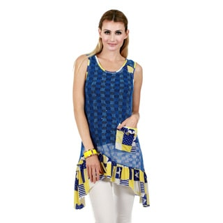 Firmiana Women's Sleeveless Blue and Yellow Ruffle Sidetail Tunic