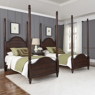 Home Styles Country Comfort Two Twin Poster Beds and Night Stand