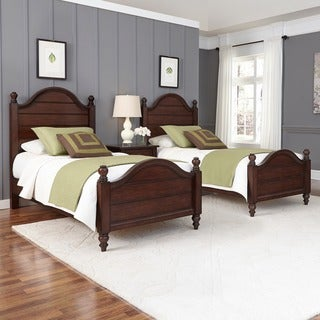 Country Comfort Two Twin Beds and Night Stand by Home Styles
