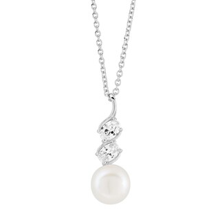 Kabella Sterling Silver Freshwater Pearl with cubic Zirconia Accent Pendant (9.5-10 mm)
