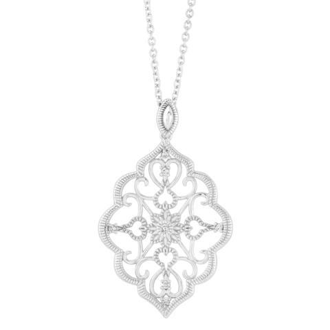 Kabella Sterling Silver Cubic Zirconia Parisian Scroll Design Pendant