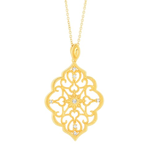 Kabella Yellow Gold Plated Parisian Scroll Design Pendant