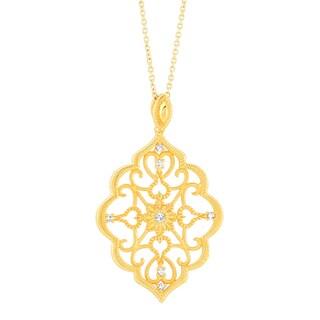 Kabella Yellow Gold Plated Parisian Scroll Design Pendant