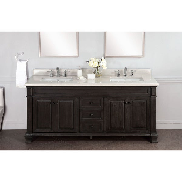 Shop kingley 72 inch marble double sink vanity with - 50 inch double sink bathroom vanity ...