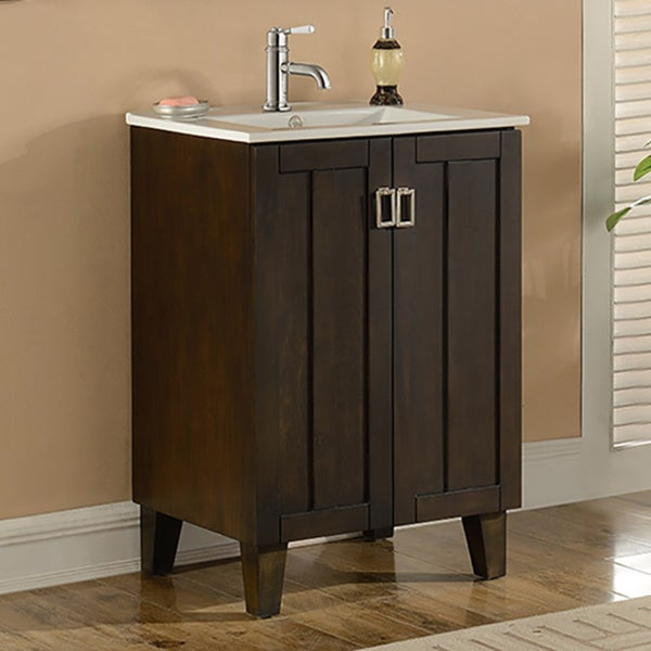 24 inch single sink bathroom vanity in brown finish