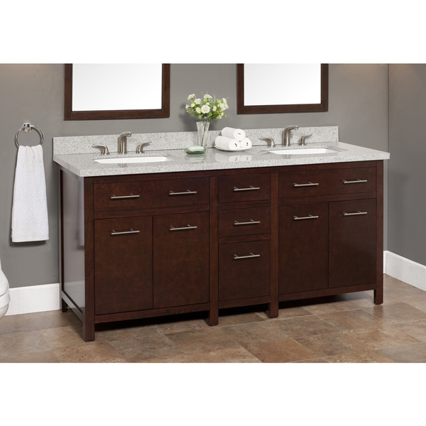 Shop Blanco 72-inch Granite Double Sink Vanity with ...