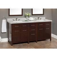 Blanco 72-inch Granite Double Sink Vanity with Backsplash