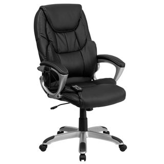High Back Massaging Black LeatherSoft Executive Office Chair with Silver Base
