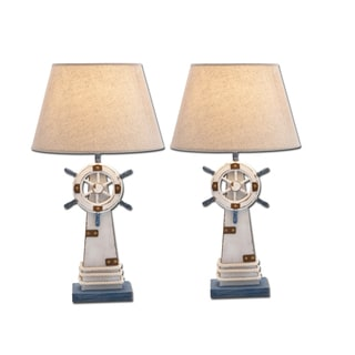 Ships Wheel 25-inch Nautical Table Lamp (Set of 2)