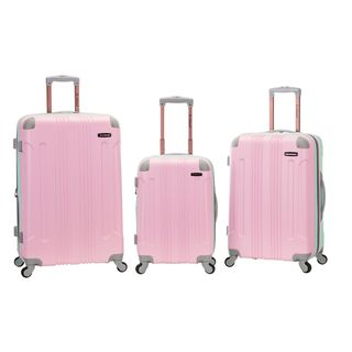 Rockland 3-piece Two-tone Pink Lightweight Expandable Hardside Spinner Upright Luggage Set