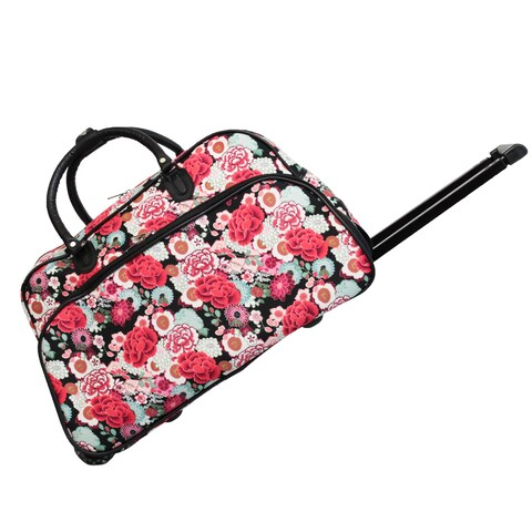World Traveler Flower 21-inch Carry-on Rolling Duffle Bag