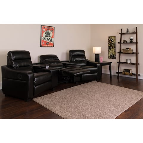 """Fusion Series 3-seat Reclining Leather Theater Seating Unit with Cup Holders - 120""""W x 45"""" - 64""""D x 40""""H"""