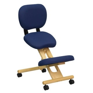 Mobile Wooden Ergonomic Kneeling Posture Chair in Navy Blue Fabric with Reclining Back