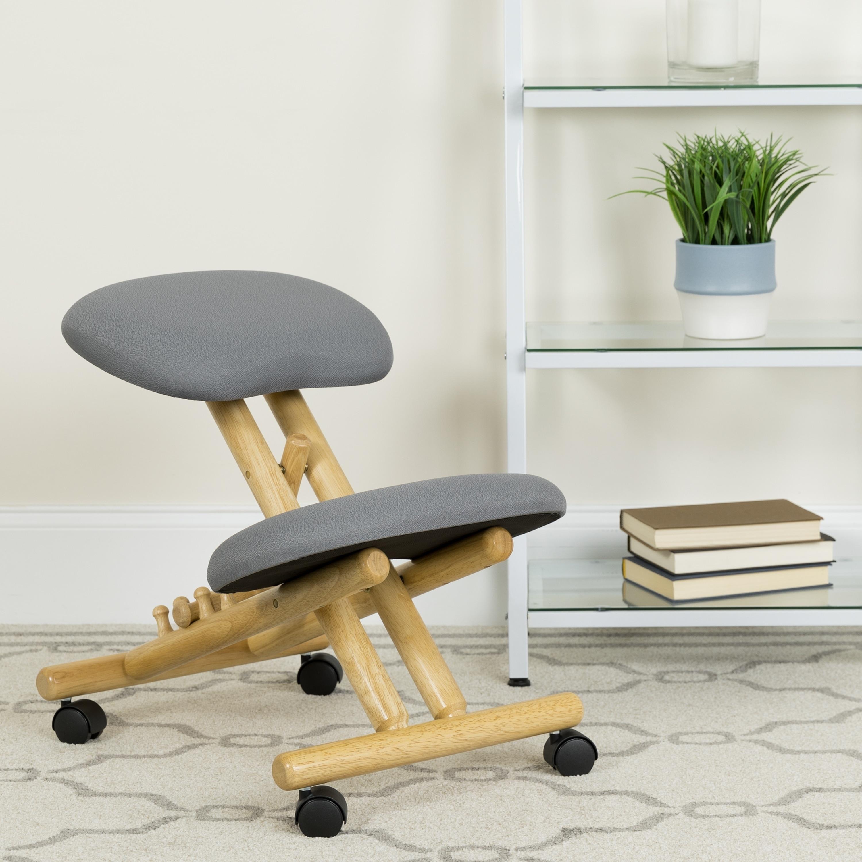 FLASH Furniture Mobile Wooden Ergonomic Kneeling Chair in...