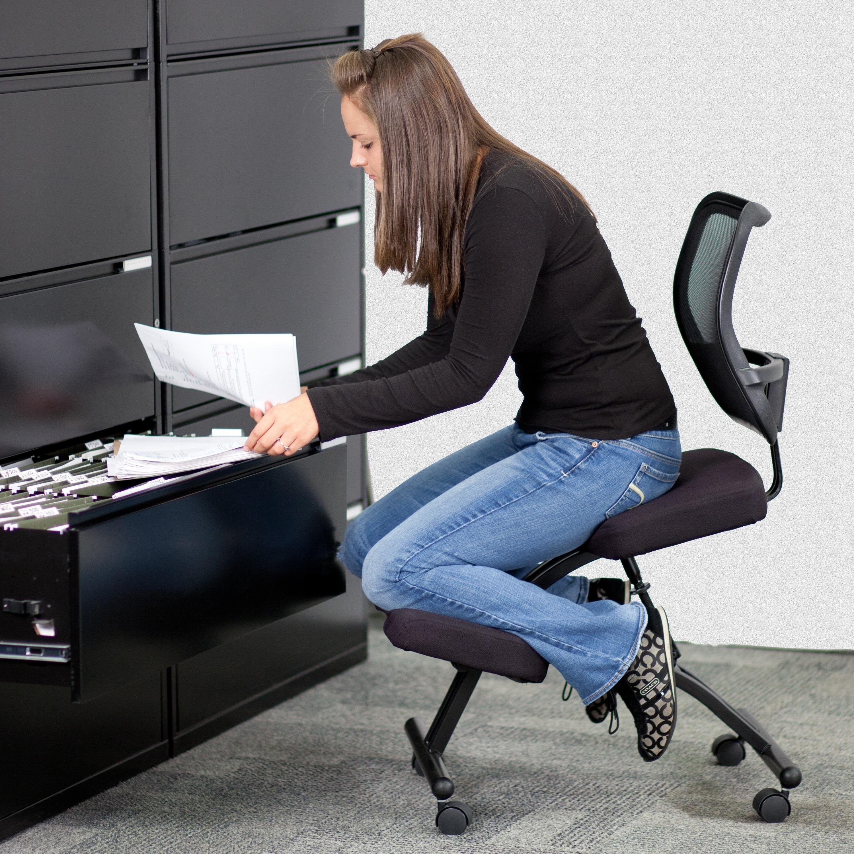 FLASH Furniture Mobile Ergonomic Kneeling Chair with Blac...