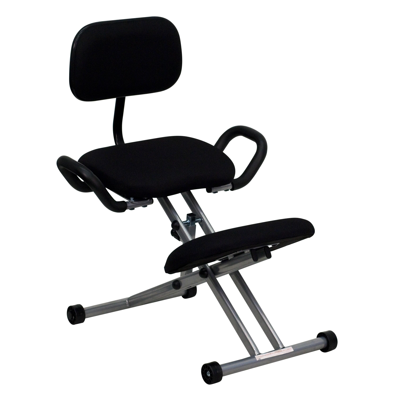 FLASH Furniture Ergonomic Kneeling Chair in Black Fabric ...