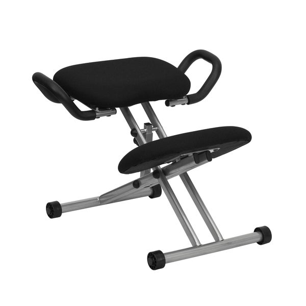 Shop Ergonomic Kneeling Chair In Black Fabric With Handles
