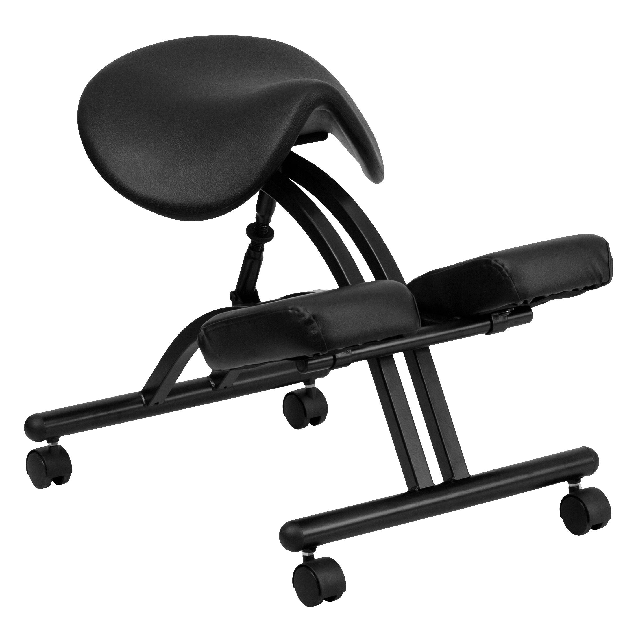FLASH Furniture Ergonomic Kneeling Chair with Black Saddl...
