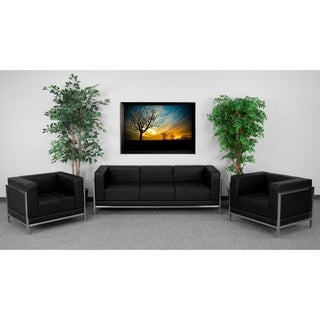HERCULES Imagination Series Black Leather Sofa and Chair Set