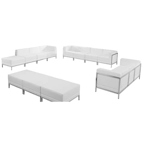 HERCULES Imagination Series White Leather 12-piece Sofa, Lounge and Ottoman Set