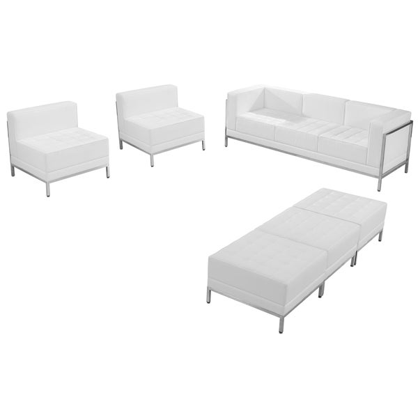 hercules imagination series white leather sofa chair and ottoman set