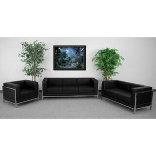 "HERCULES Imagination Series Black Leather 3-piece Sofa Set - 27.25""H"