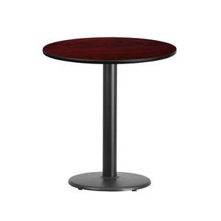 24-inch Round Laminate Table Top with 18-inch Round Table Height Base - Black (4 options available)