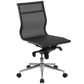 Mid-Back Armless Mesh Executive Swivel Office Chair with Synchro-Tilt Mechanism