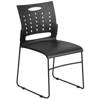 881 lb. Capacity Black Sled Base Stack Chair with Carry Handle and Air-Vent Back