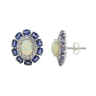 Sterling Silver Opal and Iolite/ Topaz Earrings