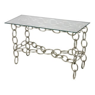 Sterling Silver Chain Console Table With Clear Glass Top