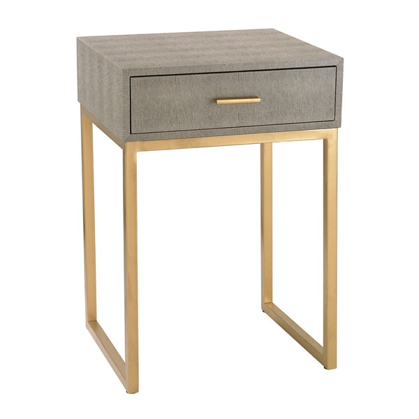 Exceptional Sterling Shagreen Grey Side Table