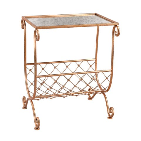 Sterling Copper Side Table with Magazine Rack
