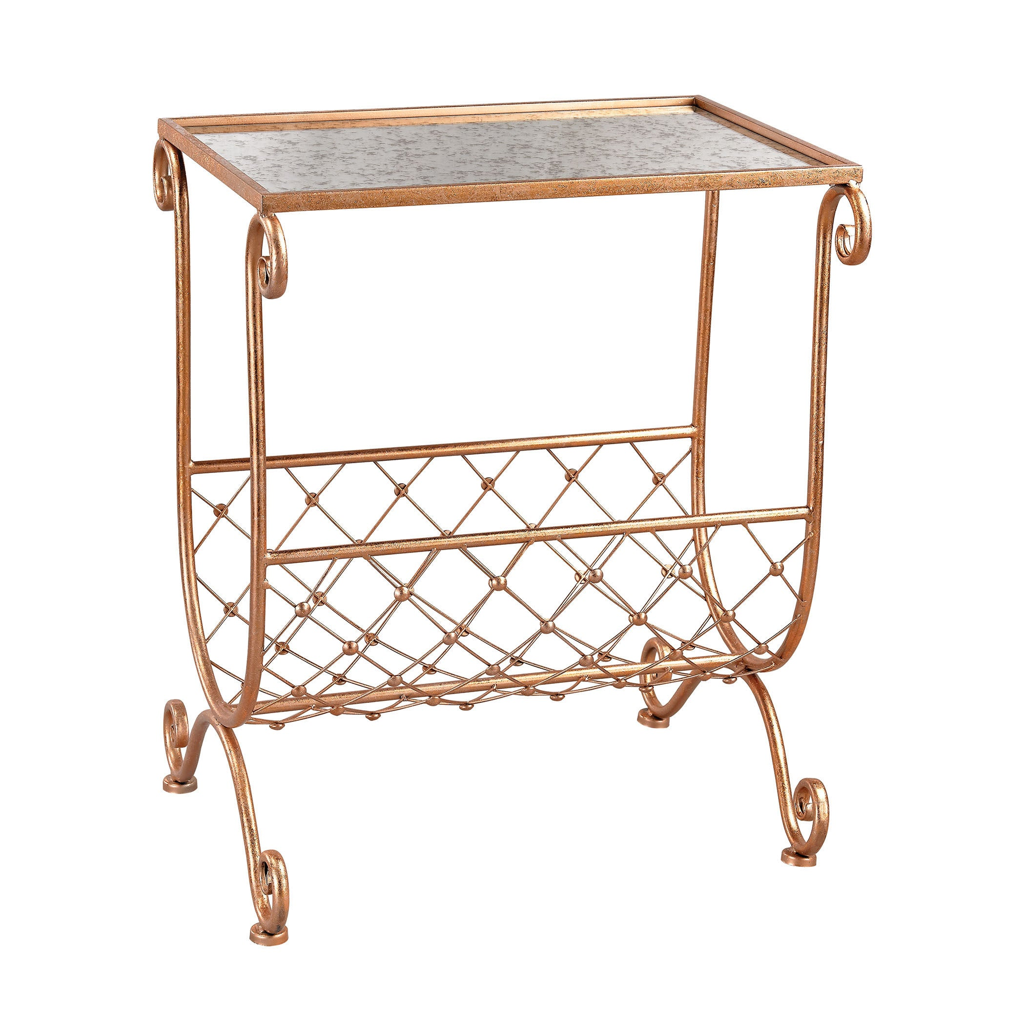 Traditional Side Table Metal Top Bottom Magazine Rack Storage Copper Finish