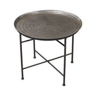 Sterling Embossed Pewter Accent Table