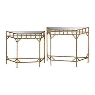 Sterling Gold Leaf and Antique Mirror Nested Tables