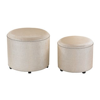 Sterling Cream Metallic Linen Ottoman (Set of 2)