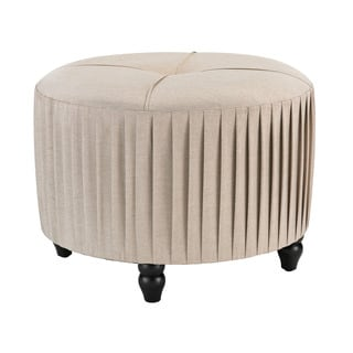 Sterling Pleated Ottoman in Natural Linen