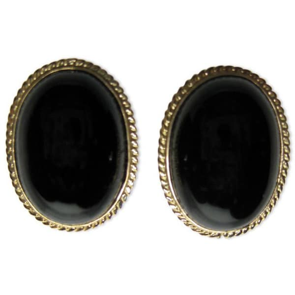 Kabella 14k Yellow Gold Oval Black Onyx Earrings