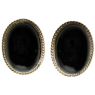 Kabella 14k Yellow Gold Oval Black Onyx Earrings