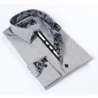Dolce Guava Men's Grey Patterned Button-down Shirt