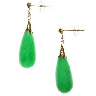 Kabella 14k Yellow Gold Teardrop Green Jade Drop Earrings