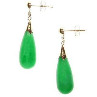 Kabella 14k Yellow Gold Teardrop Green Jade Drop Earrings