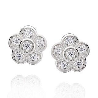 Sterling Silver Round Cubic Zirconia Flower Stud Earrings