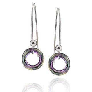 Sterling Silver Round Genuine Austrian Crystal Elements Dangle Earrings